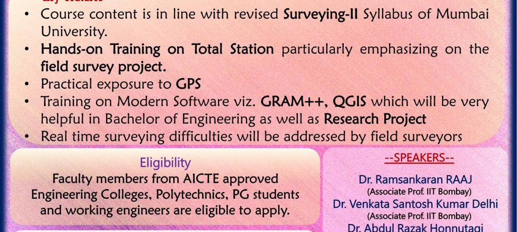 "One Week ISTE approved STTP on ""Application of High Definition Surveying in Civil Engineering"" from 1st to 6th January 2018 is organized by Department of Civil Engineering"
